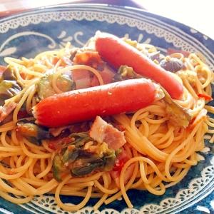 茄子とベーコンの醤油麹パスタ