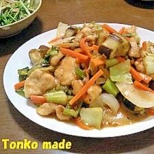 鶏胸肉と茄子の肉味噌炒め
