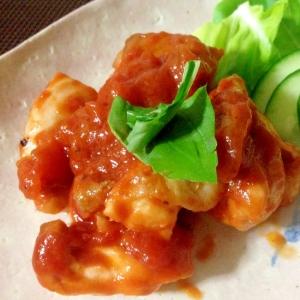 「鶏肉のトマトアヒージョ和え」リメイク料理☆