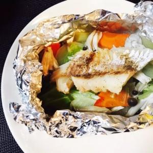 フライパンで☆白身魚と野菜のホイル焼き