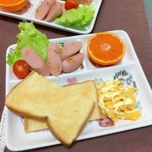 白だしマヨ玉とギョニソとトーストとみかん朝ごはん♡