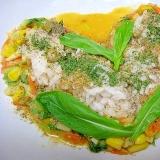 シャキとろエスニック♪壬生菜のオレンジ味噌ナムル丼