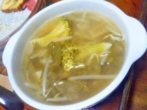 かぶ葉もやしブロッコリーの味噌汁