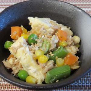ミックスベジタブル&ツナの炒り豆腐