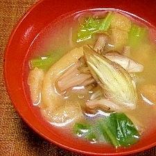 毎日のお味噌汁58杯目*小松菜とシメジ、ミョウガ