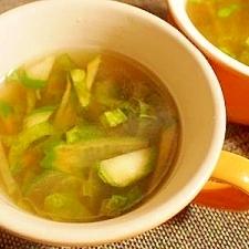 旬を味わう 明日葉と干し胡瓜で中華スープ♪
