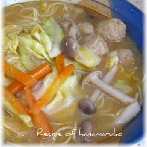 肉団子(自家製)と野菜のピリ辛味噌ラーメン