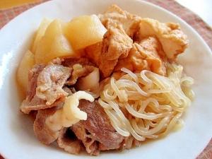 豚肉と大根と厚揚げと糸こんにゃくの煮物♪