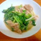大根の間引き菜と鶏もも肉の味噌炒め