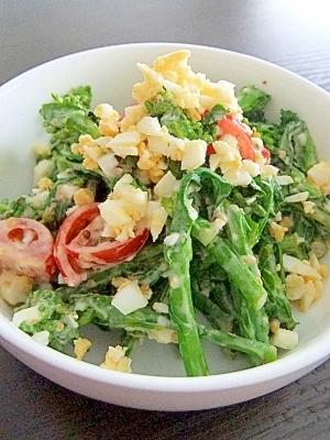 菜の花とタマゴの春サラダ★粒マスタード風味