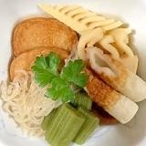さつま揚げ、筍、蕗、しらたき、椎茸、ちくわの煮物