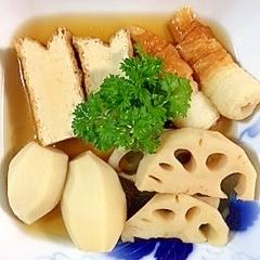 里芋、レンコン、厚揚げ、ちくわの煮物