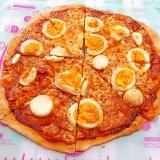 スパムと茹で卵のピザ