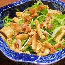 梅☆と千枚漬de鶏皮とお揚げさんのサッパリサラダ