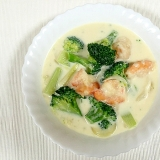さっぱり味の♪海老とブロッコリーのクリーム煮