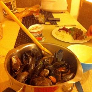 ムール貝のワイン蒸し。