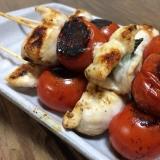 キャンプ飯★ささみとプチトマトの焼き鳥BBQ