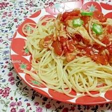 パスタの蟹風味カマボコトのマトソース