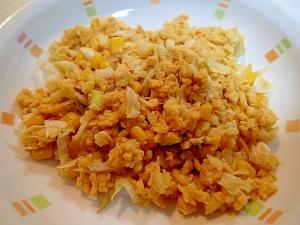 麺つゆで ❤キャベツと茗荷とコーンの炒り卵❤