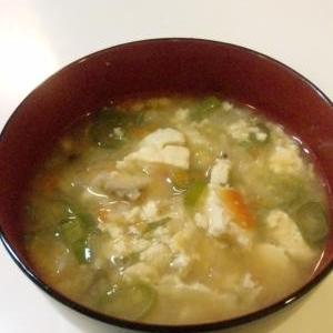 鍋の翌日の朝食に♪くずし豆腐のお味噌汁