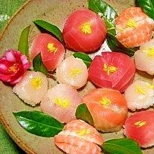 椿のような手まり寿司