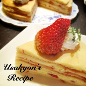 極薄パンケーキで♡苺カスタードのミルクレープ風