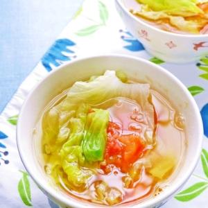 冷房対策!生姜たっぷりなレタスとトマトのスープ