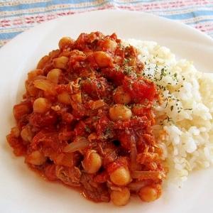 さばとひよこ豆のトマトカレー
