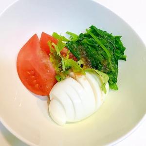 ゆで卵とほうれん草とトマトの☆簡単みつ葉のせサラダ