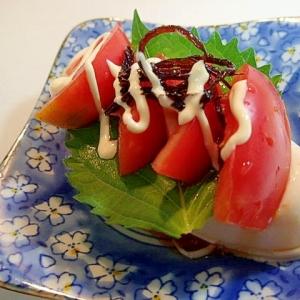 かぼポン/マヨで 大葉とトマトと昆布佃煮の冷奴