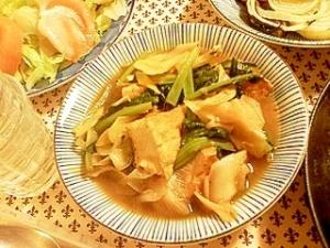 厚揚げ、小松菜、白ネギの煮物