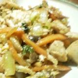 胸肉豆腐野菜の醤油炒め
