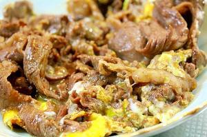 牛肉の卵とじ*半熟でとろり