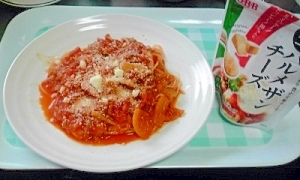 ミートソースでトマト煮からのトマトスパ♪