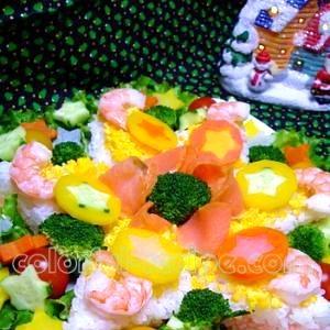 雪の結晶のつもり クリスマス寿司