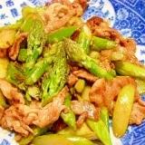 ジャンボアスパラと豚肉のコッテリ炒め