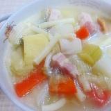 圧力鍋で~厚切りベーコンと野菜・マカロニスープ