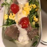 サラダ春菊、豆苗で!シーザーサラダ風