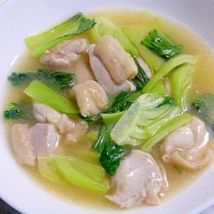 チンゲン菜と鶏もも肉の中華炒め煮