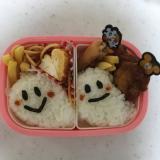 ハロウィン☆オバケの唐揚げとナポリタンお弁当