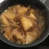 鴨鍋のスープで大根とえのきの煮物