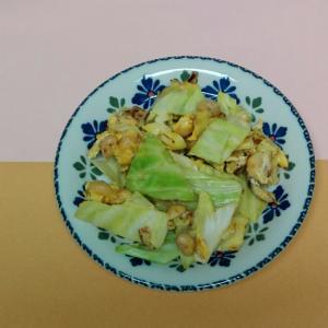 キャベツと蒸し大豆のあみえび入り卵炒め