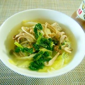 【うま塩】キャベツとしめじと大根の葉のうま塩スープ