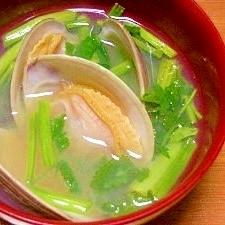 毎日のお味噌汁87杯目*ホンビノス貝とセリ