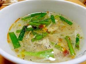 ササミとニラ&もやし辛々中華風スープ