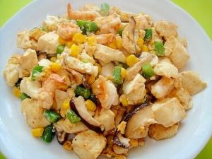 海老とコーンの炒り豆腐