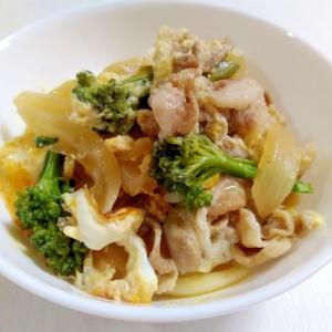 昆布つゆで簡単☆豚肉とブロッコリーの卵とじ丼