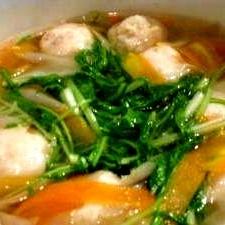 """*""""鶏だんごと根菜の風味豊かな白だし鍋を簡単に❤"""