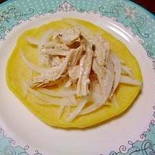 山芋とじゃが芋の白いパンケーキクリームチーズチキン