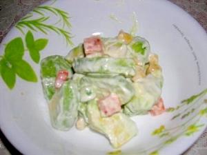 塩麹でアボガドとミックスベジタブルのサラダ